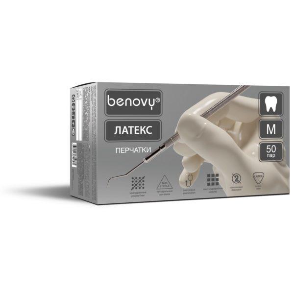 BENOVY Dental Formula Latex Chlorinated Перчатки смотровые нестерильные латексные неопудренные Dental Formula