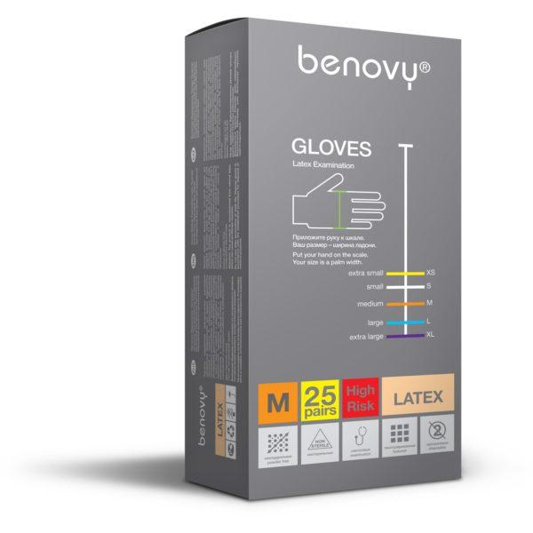 BENOVY Latex High Risk Перчатки смотровые нестерильные латексные текстурированные повышенной прочности 2