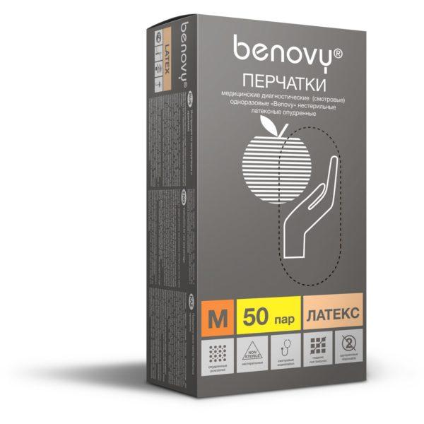 BENOVY Latex Powdered Перчатки смотровые нестерелильные латексные гладкие опудренные