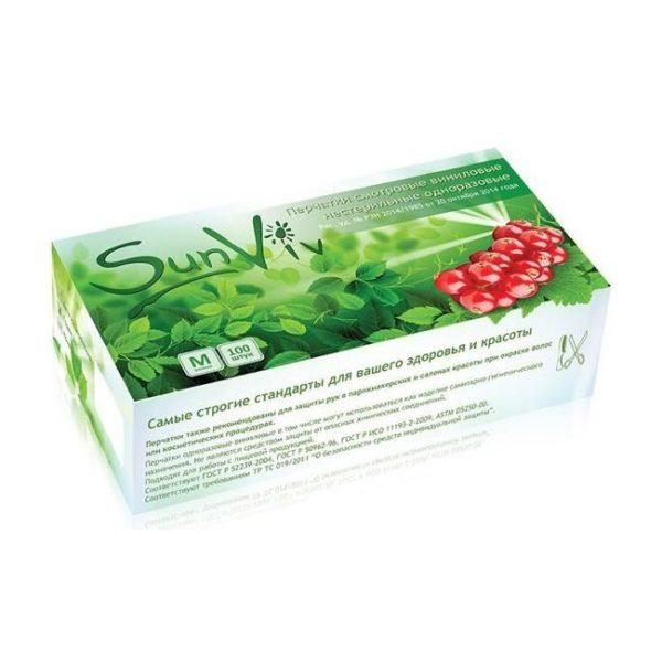Перчатки виниловые прозрачные SunViv GV 400